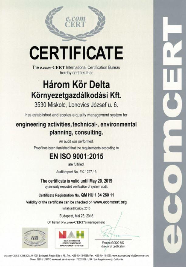 ISO 9001 tanúsítvány 2018-2019 angol